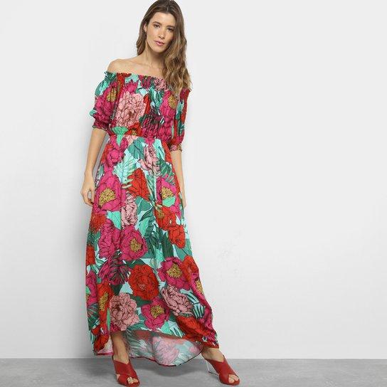 95dce9ad2 Vestido Ombro a Ombro Longo Cia Marítima Estampado Floral | Netshoes