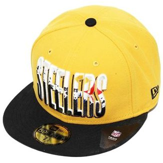 Boné New Era Aba Reta Fechado Nfl Steelers Splatter Fill dbbe60b48c8