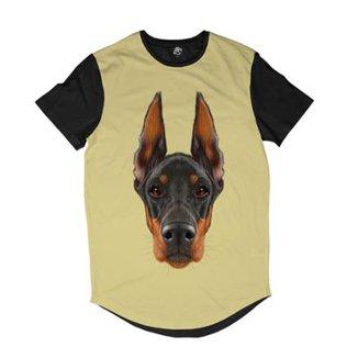 Camiseta Longline BSC Cara de Doberman Sublimada Masculina ba69dfdeaf2