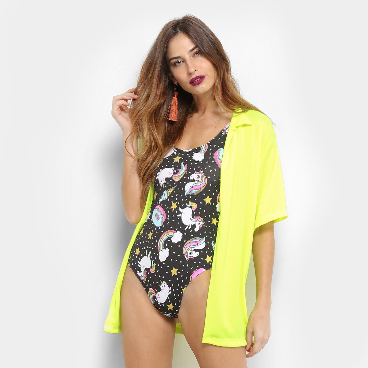 Camisa Saída de Praia Flora Zuu Neon Feminina