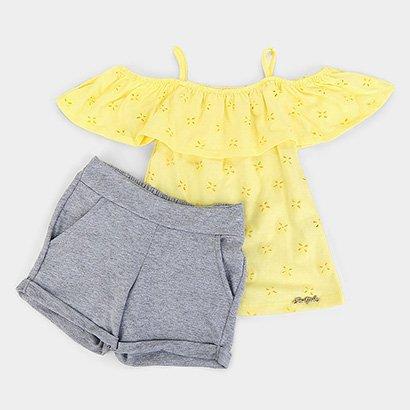 Conjunto Infantil For Girl Blusa C/ Babado Laise E Short Moletinho Feminino