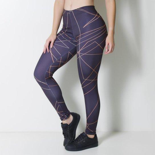39d57e7dd Calça Legging Kaisan Scrawl Feminina - Preto e Cobre | Netshoes