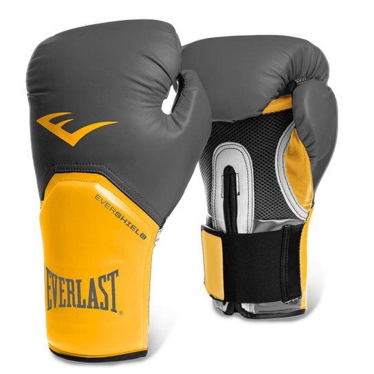 a744b3aee Luva de Boxe Muay Thai Everlast Pro Style Elite 12oz - Cinza+Amarelo