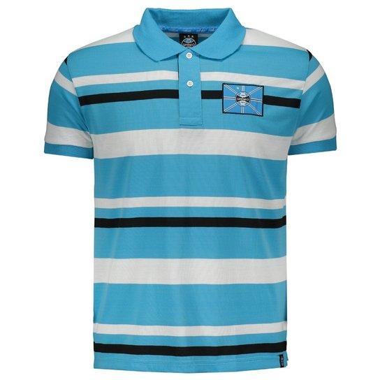 d960f1ce08 Camisa Polo Grêmio Listrada Masculina - Azul Turquesa e Branco ...