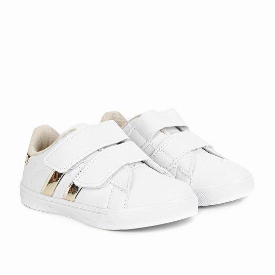 ac45b711463 Tênis Infantil Kurz Feminino - Branco e dourado - Compre Agora ...