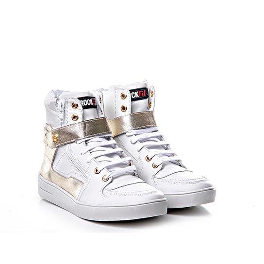 43b5f8ebee61f Tênis Sneaker Rock Fit Couro Napa Confort - Branco e dourado | Netshoes
