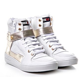 Tenis Sneaker Cano Alto Branco E Dourado - Rock Fi 82b5b1c589f2b