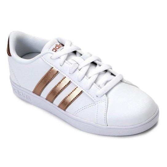 a03d705fffe Tênis Infantil Couro Adidas Baseline - Branco e dourado - Compre ...