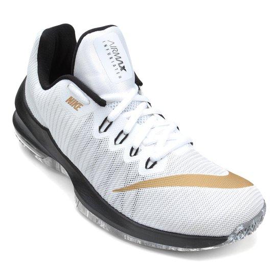 4b1e14a86 Tênis Nike Air Max Infuriate 2 Low Masculino - Branco e dourado ...