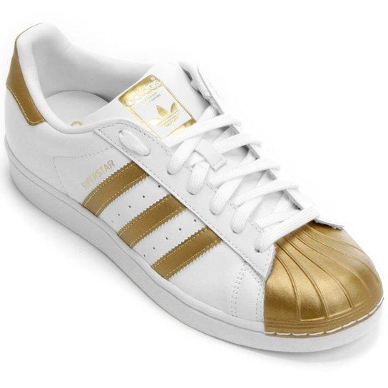 bf81c31d2c0 Tênis Adidas Superstar Metallic - Branco+dourado