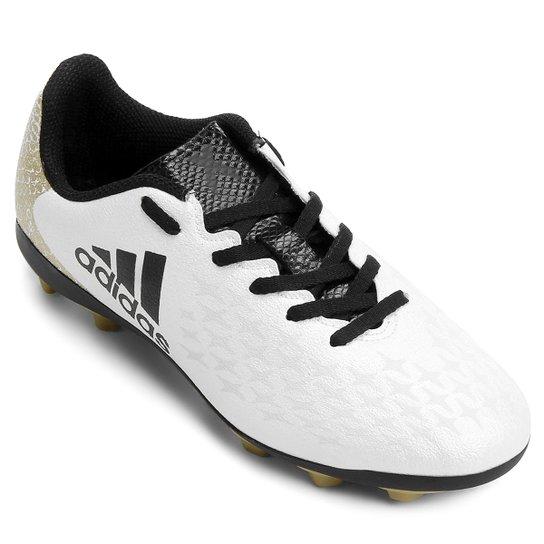 Chuteira Campo Juvenil Adidas X 16 4 FXG - Branco e Preto - Compre ... f38714722fb5c