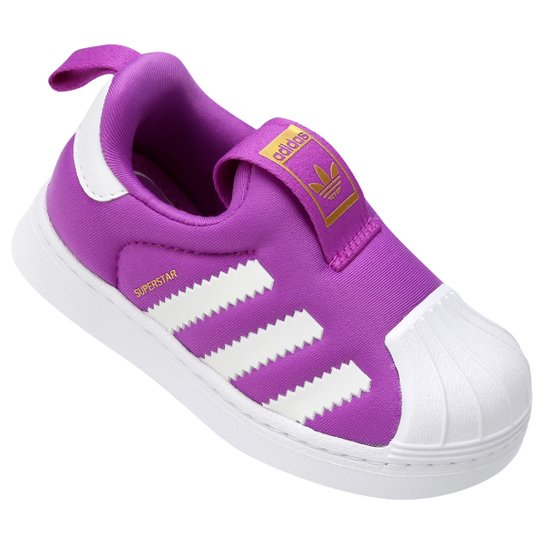 76a77108104 Tênis Adidas Superstar 360 Infantil - Violeta e Branco - Compre ...