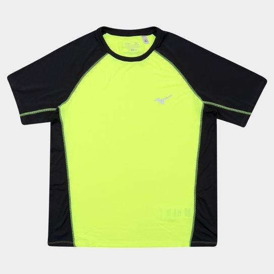 Camiseta Mizuno Run Pro Com Proteção UV Masculina - Amarelo Fluorescente +Preto 197a15b6bf750