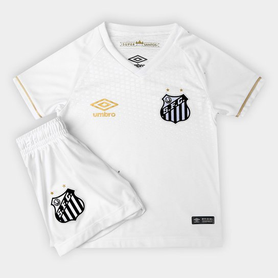 Kit Santos Infantil I 2018 s n° Torcedor Umbro - Branco+dourado 5e50dde10628d