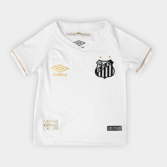 Camisa Santos Infantil I 2018 s n° Torcedor Umbro - Branco e dourado ... 0447afad23861