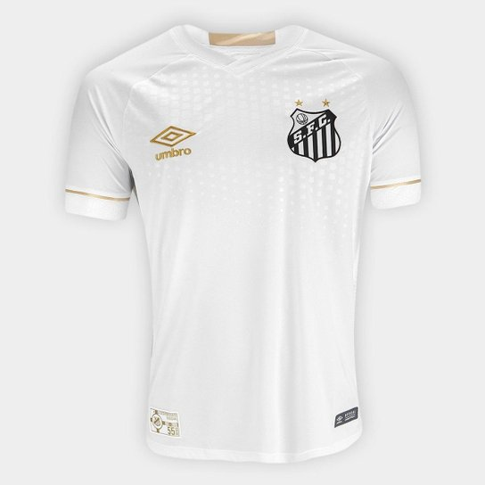 Camisa Santos I 2018 s n° Torcedor Umbro Masculina - Branco+dourado 72ced7e7eb759