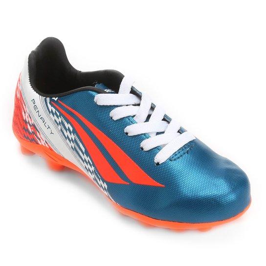 e226362f61f34 Chuteira Campo Infantil Penalty K Soccer Storm 7 - Azul Petróleo+Laranja
