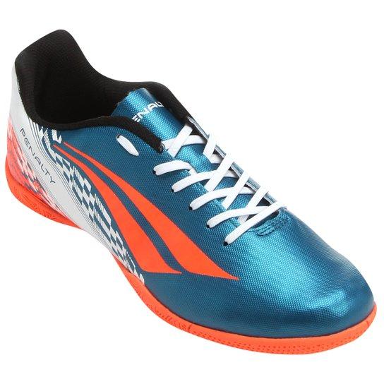 Chuteira Futsal Penalty Storm 7 Masculina - Azul Petróleo e Laranja ... 7ff84b2c7c37d
