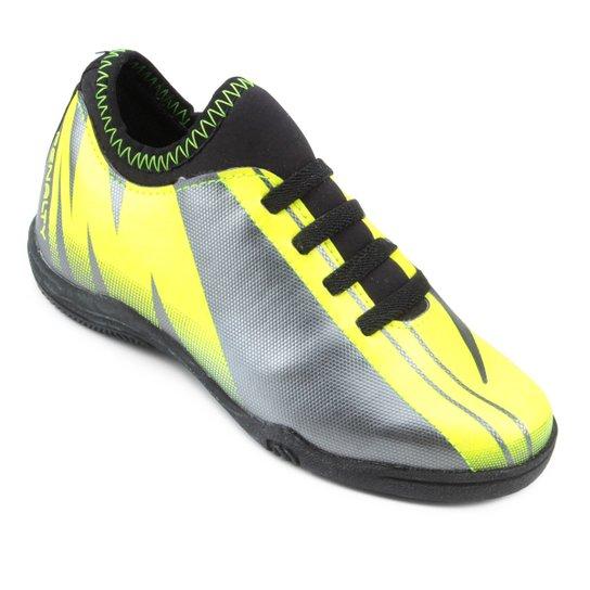 Chuteira Futsal Infantil Penalty K Attom 1 VIII - Cinza e Amarelo ... 85c384e2ad47c