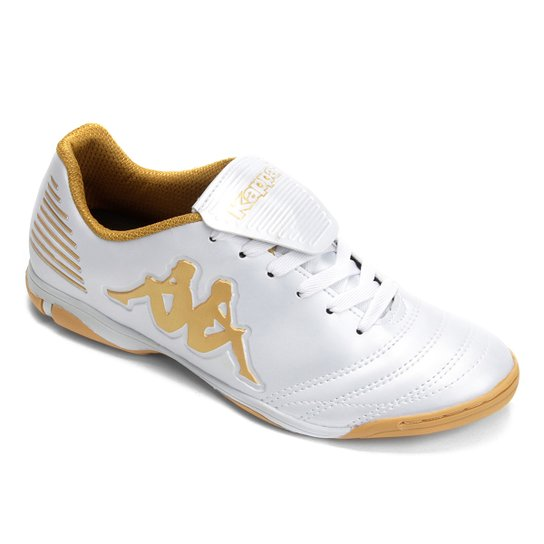 Chuteira Futsal Kappa Jet - Branco+dourado e5ec96e92208f