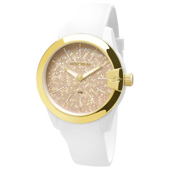 a2012196563 Relógio Analógico Mormaii MO2039AI-8D Feminino - Branco+dourado