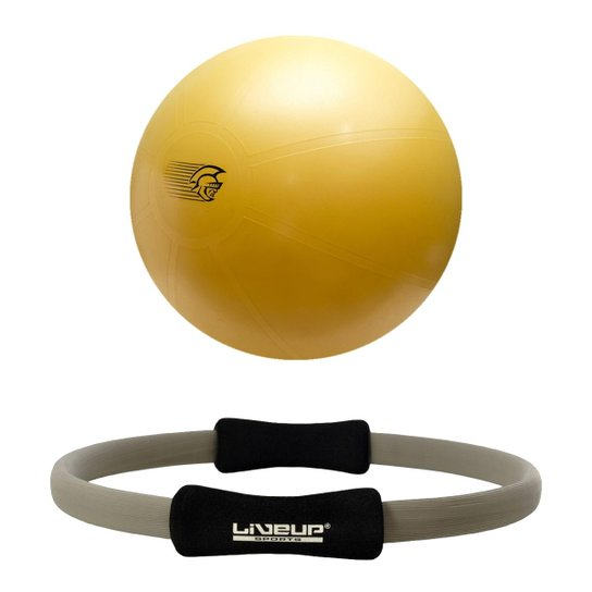 f203b7f69 Kit Anel De Pilates Toning Ring Liveup Ls3167cz Cinza + Bola Fit Ball  Training 75Cm Com