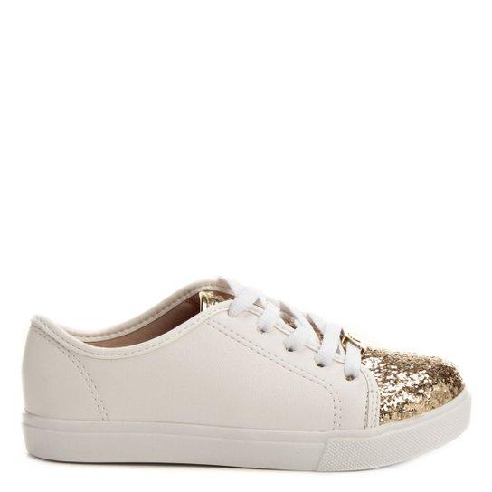 81edb3fa6b8 Tênis Molekinha Glitter Infantil - Branco e dourado - Compre Agora ...