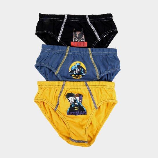 fce7e2f5f9b5c2 Kit de Cuecas Slip Infantil Lupo Batman KM 3 Peças - Preto e Amarelo