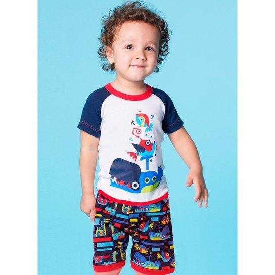 a452c8b0550911 Pijama Infantil Puket Robôs - Azul Claro e Marinho