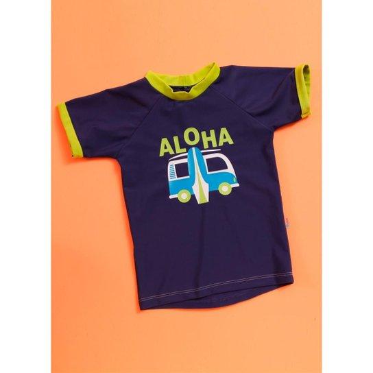 Camiseta Infantil Puket Aloha - Azul Claro+Marinho b9e6ffd99df