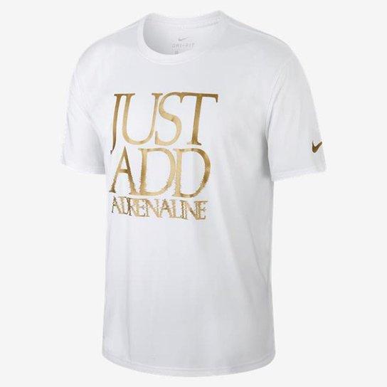 56dbe780d7 Camiseta Nike Dry Legend Just Add Adrenaline Masculina - Branco+dourado