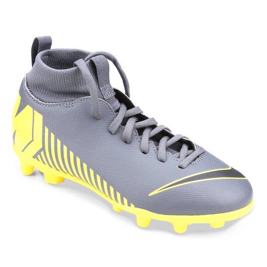 Chuteira Campo Infantil Nike Superfly 6 Club FG - Cinza e Amarelo ... 6013c32729c83