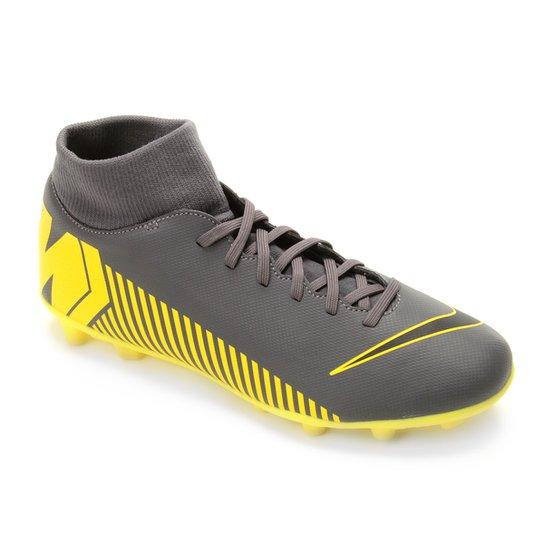 0ec502a17605a Chuteira Campo Nike Mercurial Superfly 6 Club FG - Cinza e Amarelo ...