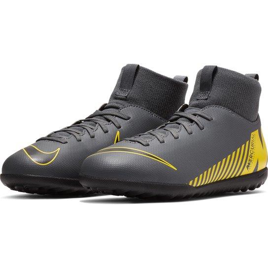 07a185c615 Chuteira Society Infantil Nike Mercurial Superfly 6 Club TF - Cinza+Amarelo