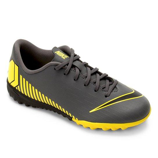 Chuteira Society Infantil Nike Vapor 12 Academy Gs TF - Cinza+Amarelo e6f1231f3e88f