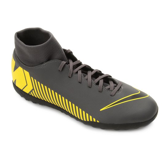 f28472919490d Chuteira Society Nike Mercurial Superfly 6 Club TF - Cinza e Amarelo ...