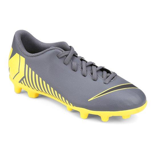 Chuteira Campo Infantil Nike Vapor 12 Club GS FG - Cinza e Amarelo ... 73e28a27d17