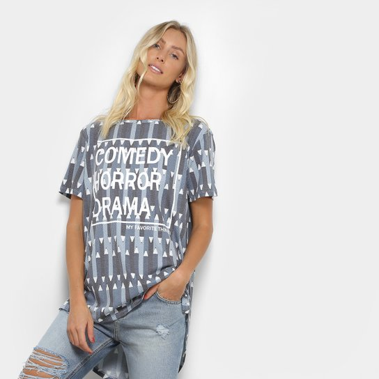 f498bdf91b Camiseta My Favorite Thing (s) Alongada Estampada Feminina - Azul  Claro+Marinho