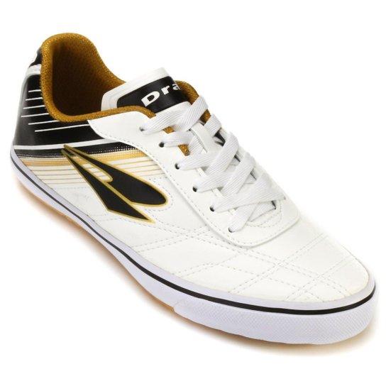 486aa677a0 Tênis Futsal Dray Infantil 851 - Branco e dourado - Compre Agora ...