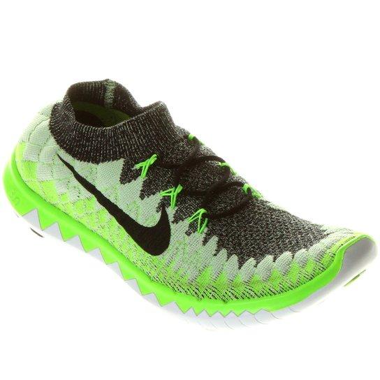 detailed look 620f8 e7154 Tênis Nike Free Flyknit 3.0 - Verde Limão+Preto