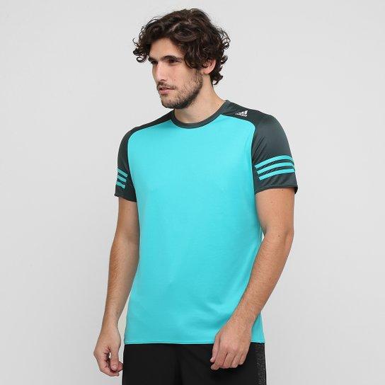 04261990343 Camiseta Adidas Response - Azul Turquesa+Cinza