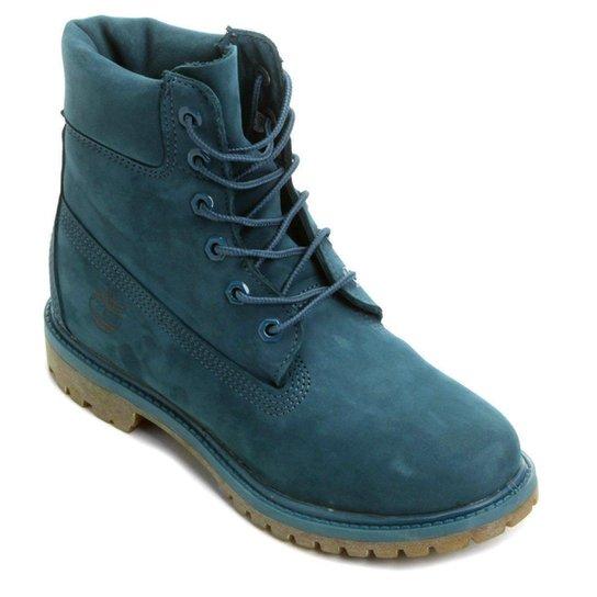Bota Couro Cano Alto Timberland 6 pol. Premium Feminina - Azul Petróleo 6649d77c64e8d