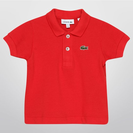 1b3debec3b3e2 Camisa Polo Lacoste Piquet Infantil - Vermelho+Verde