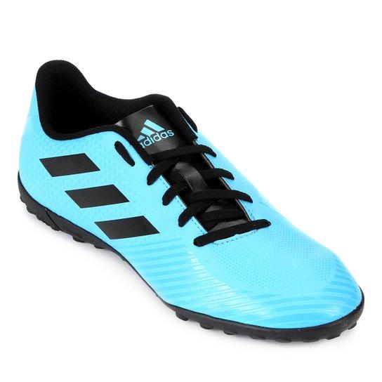 998bd9f2415ab Chuteira Society Adidas Artilheira III TF - Azul Claro e Preto ...