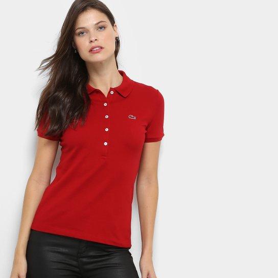d815f8afdd Camisa Polo Lacoste Manga Curta Botões Feminina - Compre Agora ...