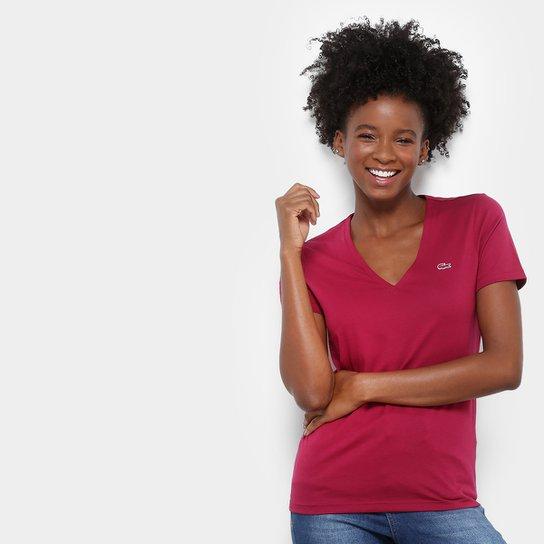 74f3d510051 Camiseta Lacoste Decote V Feminina - Compre Agora