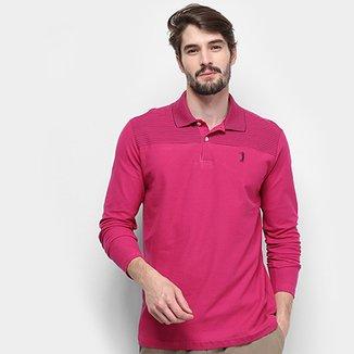 13f28c011b Camisa Polo Aleatory Fio Tinto Manga Longa Masculina
