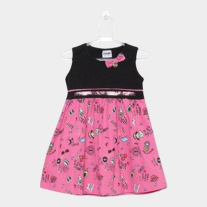 Vestido Infantil Fakini Curto Evasê Estampado Detalhe Laço