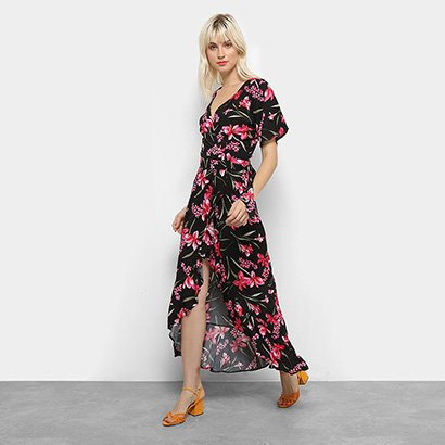 Vestido Longo Top Moda Floral Babado Feminino