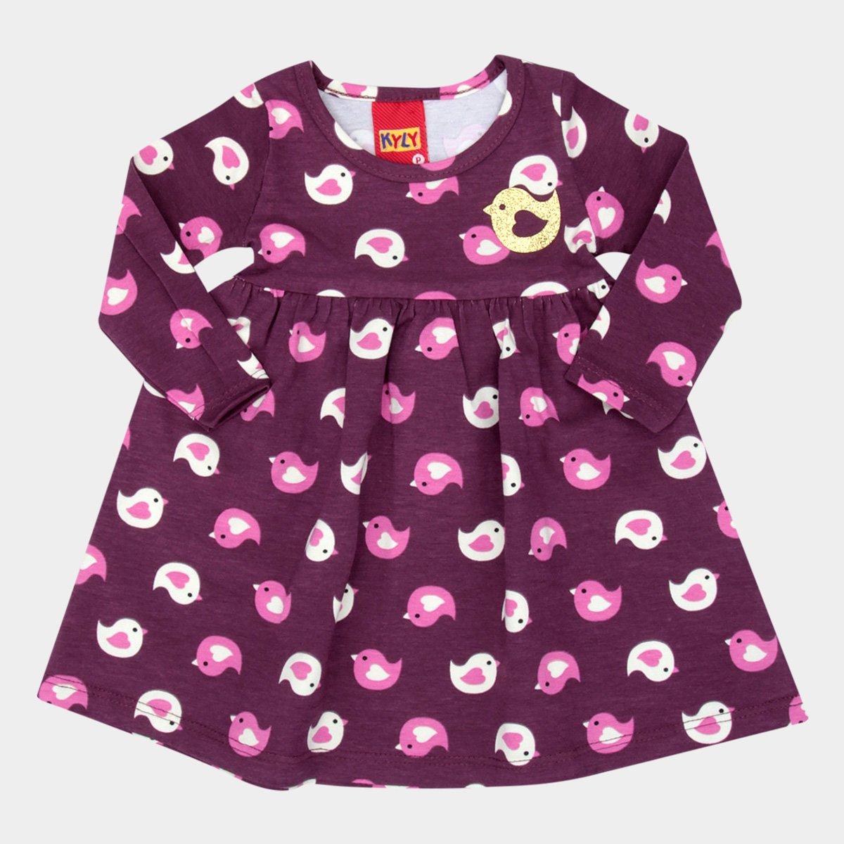 7c1eb38375 Vestido Infantil Kyly Estampado Pássaros Manga Longa Feminino